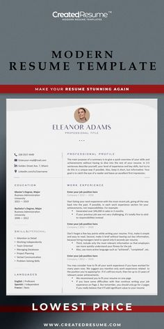 Clean design unique resume template that will help to get the job of your dreams faster! Easy to customize on Word and Apple Pages. Designed by an experienced CreatedResume team these resume templates will catch an eye and help you outstand from the others. #resume #resumetemplate #nurseresume #modernresume #resumeformat #resumedesign #resumetips #createdresume #cv #cvtemplatepeople Modern Resume Template, Resume Templates, Communications Jobs, Unique Resume, Microsoft Word 2007, Good Resume Examples, Wish You The Best, Resume Format, Dental Assistant