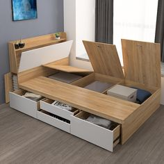 Plate drawer bed tatami storage high box bed m single bed m bed combination bed Bed Frame Design, Room Design Bedroom, Bedroom Furniture Design, Small Room Bedroom, Home Room Design, Bed Furniture, Home Interior Design, Minimalist Home Furniture, Minimalist Room