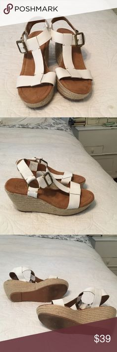 LUCKY BRAND BLUE JEANS AMERICA WHITE LEATHER WEDGE SANDALS. ONLY WORN TWICE. SUPER CUTER AND COMFY. Lucky Brand Shoes Sandals