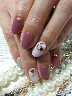 #ファーストネイル #楕円丸かん Grunge Nails, Beautiful Nail Art, Nail Arts, Spring Nails, My Nails, Sparkle, Red, Beauty, Style