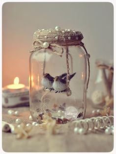 Best and Simple DIY Mason Jar Crafts - Ellise M. - best and easy DIY mason jar crafts – - Mason Jar Projects, Mason Jar Crafts, Bottle Crafts, Mason Jars, Crafts With Jars, Baby Dekor, Pot Mason Diy, Deco Champetre, Christmas Crafts