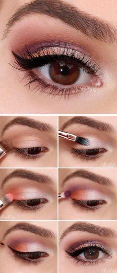 48 Trendy makeup for beginners eyeliner make up Eye Makeup Tips, Makeup Inspo, Makeup Eyeshadow, Makeup Ideas, Summer Eyeshadow, Makeup Brushes, Beauty Makeup, Makeup Tricks, Beach Eye Makeup