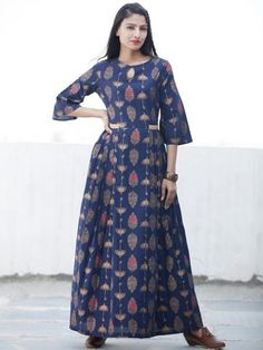 1c0087789c Indigo Gold - Hand Block Printed Cotton Long Dress - D337FYYY