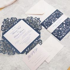 Navy and shimmery blush pink laser cut invitation kit! Beautiful DIY laser cut pockets for the DIY bride! Want to make your own invitations, but dont know where to begin? Then this is the perfect kit for you! I do all the hard work, and you get the fun part- assembling them! You will