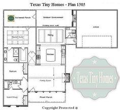 Small House Plans, Texas Tiny Homes - Plan 1505