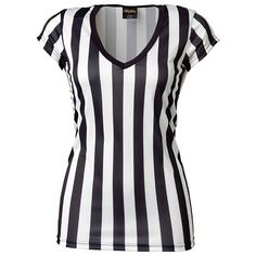 Brightline Ladies Deep V Neck Referee Tee ($16) ❤ liked on Polyvore featuring tops, t-shirts, wwe tops, deep v neck tee, deep v neck top, low v neck t shirts, deep v neck t shirts and low v neck top