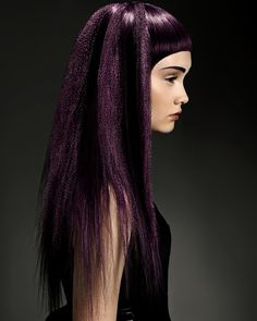 Trevor Sorbie Long Black Straight Hair Severe Fringe Bangs Eggplant Purple Amethyst Color