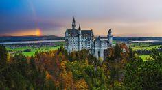 İlhan Eroğlu Photography. Neuschwanstein under the Rainbow - Germany , Munich ,Bavaria