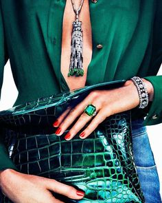 Emerald  diamond tassel  necklace, ring, emerald green crock clutch