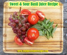 """The """"Sweet & Sour Basil"""" juice recipe is loaded with antioxidants, brain health benefits, heart health goodies, and more! This is a moderately sweet yet savory juice recipe with an awesome basil flavor thrown into the mix!   #juicing #antioxidants #juicingrecipes #brainhealth #hearthealth"""