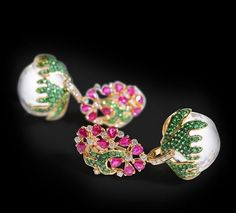 Ruby and Tsavorite Crystal and Diamond earrings by Farah Khan Fine Jewellery. Available only www.farahkhanfinejewellery.com