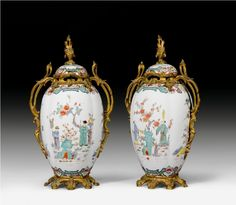 A pair of ormolu mounted Samson porcelain Chinoiserie vases. French, late 19th Century.