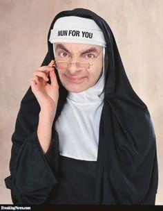This nun looks very familiar! Funny Mr. Bean as a nun! #Funny #nun #Mrbean