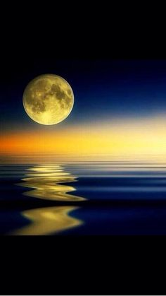 Golden Moon Reflection