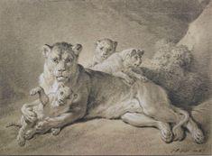Jean-Baptiste Huet (1745-1811), Lionne avec ses petits, vers 1801-1802, pierre noire et rehauts de blanc sur papier, Vienne, Albertina. © Albertina Museum, Vienne