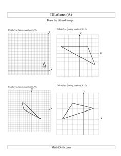 Printables Dilations Worksheet 8th Grade geometry worksheets and on pinterest worksheet dilations using various centers