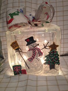 Shop for on Etsy, the place to express your creativity through the buying and selling of handmade and vintage goods. Christmas Glass Blocks, Christmas Snowman, Christmas Lights, Christmas Decorations, Painted Glass Blocks, Christmas Shopping, Gift Wrapping, Box, Creative
