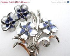 Big Sale Antique Sterling Silver Flower Set Brooch Earrings Enamel Pansy Purple
