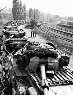 Centurion Tanks being moved by rail somewhere in Germany