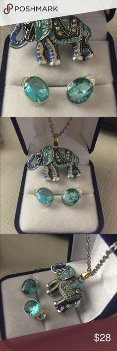 """Retro wild enamel elephant pendant set save the 🐘 One Elephant 🐘 is killed every 15 m in 10 years we do not have this intelligent creatures anymore    A elephant never forget the best memory in the wild kingdom  show ur love for this majestic creatures  enamel pendant with Austrian crystals 20"""" long chain earrings are blue crystal silver inlay stamped 925 Nwot Jewelry Necklaces"""