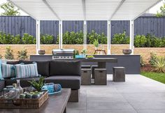 OUTDOOR LIVING / ALFRESCO -  Synergy Premier Twin with Edge 2 Facade on display at Oran Park Custom Home Designs, Custom Homes, New Home Builders, Outdoor Furniture Sets, Outdoor Decor, Investment Property, Facade, Outdoor Living, Twin