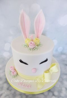 Easter Bunny 1st Birthday Cake By Cake Designs By Deborah