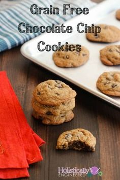 Read More About Grain Free Chocolate Chip Cookies (Paleo) - Holistically Engineered Paleo Cookies, Paleo Treats, Gluten Free Cookies, Gluten Free Desserts, Healthy Desserts, Healthy Food, Low Carb Recipes, Real Food Recipes, Cookie Recipes