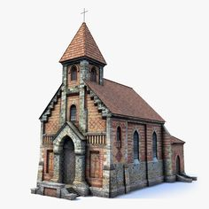 ow Poly game of brick cathedral. Fantasy City, Fantasy Castle, Fantasy House, Fantasy Village, Medieval Fantasy, Minecraft Architecture, 3d Architecture, Historical Architecture, Classical Architecture