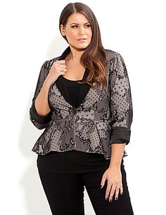 Add style to your winter wardrobe with our beautiful One Button Lace Jacket. This beautiful satin lined jacket features a classic lapel, single button fastening, 3/4 sleeves that can be extended to full length and a seamed waist with a pleated peplum frill. The all over lace print makes this jacket ultra-feminine and chic. sonsi.com