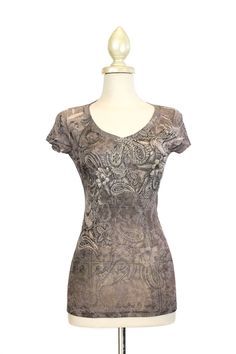 Patterned t-shirt for service or p days. Dressing Your Truth - Type 2 Paisley Bedazzle Top