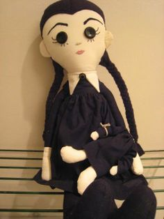 Large Handmade Wednesday Addams Gothic Designer Art Rag Doll with Headless Doll