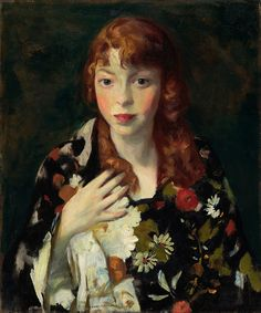 Robert Henri (1865-1929), Edna Smith in a Japanese Wrap (1915), oil on canvas, 20 x 24 inches. Collection of Indianapolis Museum of Art, Indianapolis, Indiana, USA. Via Wikimedia Commons.
