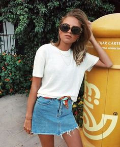plain white tee, denim mini skirt, scarf belt, sunnies