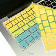 TopCase Faded Ombre Series Yellow & Light Blue Silicone Keyboard Cover Skin for Macbook Unibody / Macbook Pro with or without Retina Display / New Macbook Air / Wireless Keyboard by TOP CASE New Macbook Air, Macbook Case, Washi Tape Keyboard, Keyboard Stickers, Macbook Pro Tips, Iphone 5s Screen, Mac Notebook, Macbook Pro Unibody, Gold Apple Watch