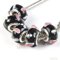 10 Perle Bead Beads a foro largo per Collana Bracciali Nero Rosa No Pietra Vetro
