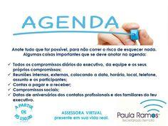 Organizar uma agenda não é uma tarefa tão fácil quanto parece. É preciso que as partes envolvidas trabalhem em conjunto para que ela funcione perfeitamente. SITE http://www.paulasecretariadoremoto.com/