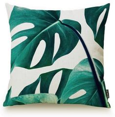 Home Decor Plant Leaf Print Pillow Case Green Throw Pillows, Linen Pillows, Throw Pillow Covers, Linen Fabric, Canvas Fabric, Cotton Canvas, Wall Mounted Corner Shelves, Printed Cushions, Decorative Pillow Cases