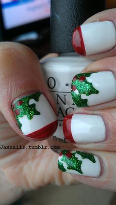 jax nails Christmas........ I like the holly coming on the nail like this. Cute idea, may try to use this.