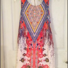 Gianni Bini tribal print shift dress NWT New condition.  Size small too tight on me. Fits 2/4. Fully lined. Back zipper. 32 inch length from shoulders. Gianni Bini Dresses Backless