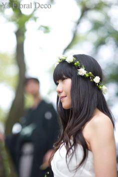 hk0037 生花の花冠 @横浜でのロケーションフォト ys floral deco