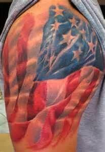Tattoo 3 American Flag Draped Over Shoulder