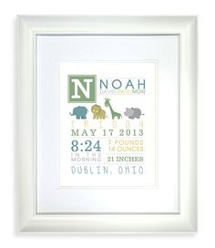 Noah's Ark / Baby Animals Nursery Print - Printable! - Colors customizable!