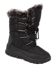 Black Faux Fur Lace-Up Snow Boot   Daily deals for moms, babies and kids
