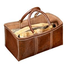 Style + functionality come together in this beautiful leather log bag. A true statement piece for fireplace accessories. Leather Gifts, Leather Craft, Fireplace Accessories, Home Accessories, Leather Accessories, Leather Briefcase, Leather Wallet, Leather Bags, Leather Purses