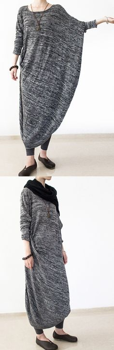 2017 gray batswing knitted caftans oversize long sweater dresses