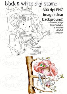 Treetop fun -Winnie Fruit Punch Printable Digital Craft Stamp Download, digiscrap - Polkadoodles Ltd