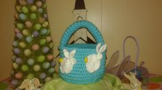 Crocheted Bucket Basket  Turquoise With by MJCrochetCre8tions