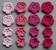 Häkelblumen, 4 Farben | Baumwolle, rosé, altrosa, pink, neonpink, 16 Stück