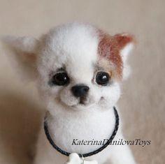Cute Needle felted wool animals pets dog puppy(Via @katerinadanilova_toys)
