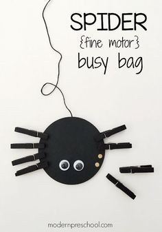 "Fine motor counting spider busy bag for preschoolers! Cute activity to go with a spider theme, the ""itsy bitsy spider"" or just for fun."